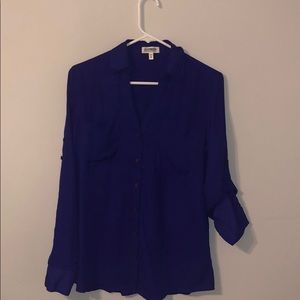 Purple button up silky blouse